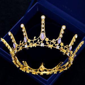 Sparkly Gold Tiara 2018 Metal Rhinestone Wedding Accessories