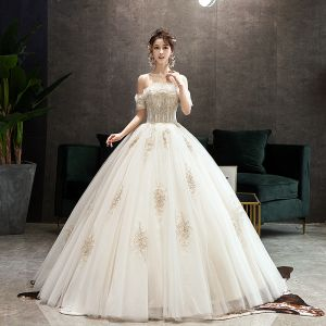 Classy Champagne Wedding Dresses 2019 Ball Gown Ruffle Off-The-Shoulder Beading Lace Flower Short Sleeve Backless Floor-Length / Long