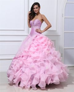 Ball Gown Taffeta Organza Beading Applique Ruffle Sweetheart Floor Length Quinceanera Prom Dresses