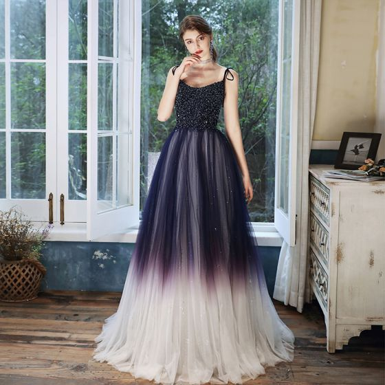 Charming Purple Gradient-Color White Prom Dresses 2020 A-Line / Princess Spaghetti Straps Sleeveless Beading Sequins Glitter Tulle Floor-Length / Long Ruffle Backless Formal Dresses