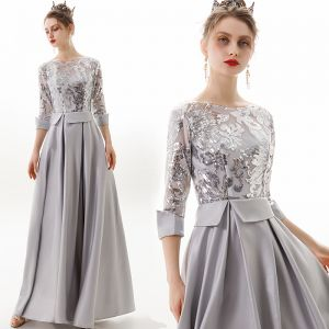 Mode Silver Aftonklänningar 2019 Prinsessa Urringning Paljetter 3/4 ärm Halterneck Långa Formella Klänningar