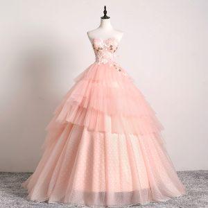 Elegante Rosa Clara Vestidos de gala 2019 Ball Gown Sweetheart Con Encaje Flor Sin Mangas Sin Espalda Volantes En Cascada Colas De Barrido Vestidos Formales