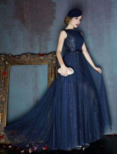 2016 Mode Décolleté Carré Robe De Soirée Paillettes De Tulle Avec Un Noeud Guillotine
