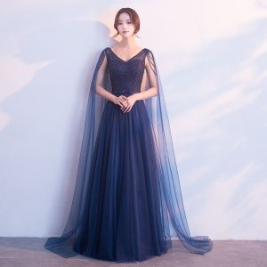 Chic / Beautiful Navy Blue Evening Dresses  2018 A-Line / Princess Pearl Bow V-Neck Backless Sleeveless Watteau Train Floor-Length / Long Formal Dresses