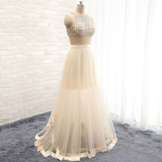 Sparkly 2 Piece Prom Dresses 2017 A-Line / Princess Scoop Neck Sleeveless Champagne Sequins Ruffle Tulle Floor-Length / Long Formal Dresses