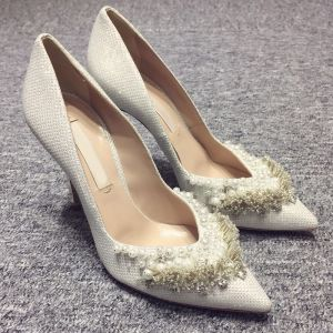Mooie / Prachtige Witte 2018 10 cm Hoge Hakken Gala Kralen Parel Rhinestone Naaldhakken / Stiletto Spitse Neus Avond Huwelijk Bruidsschoenen