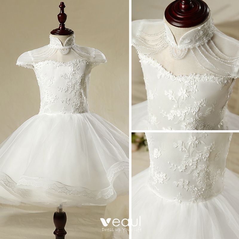 Chinese style Church Wedding Party Dresses 2017 Flower Girl Dresses White Short Ball Gown Cascading Ruffles Short Sleeve Beading High Neck Lace Appliques Flower
