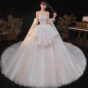 Elegant Champagne Bridal Wedding Dresses 2020 Ball Gown Sweetheart Short Sleeve Backless Glitter Tulle Ruffle Cathedral Train