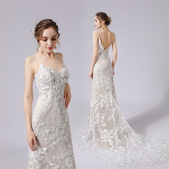 Charming Champagne Wedding Dresses 2021 Trumpet / Mermaid Spaghetti Straps Beading Sequins Lace Flower Sleeveless Backless Court Train Wedding