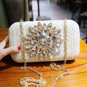 Chic / Beautiful Ivory Braid Square Clutch Bags 2020 Metal Rhinestone