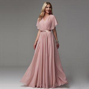 Classic Elegant Blushing Pink Evening Dresses  2020 Tulle V-Neck A-Line / Princess Floor-Length / Long Short Sleeve Evening Party Formal Dresses