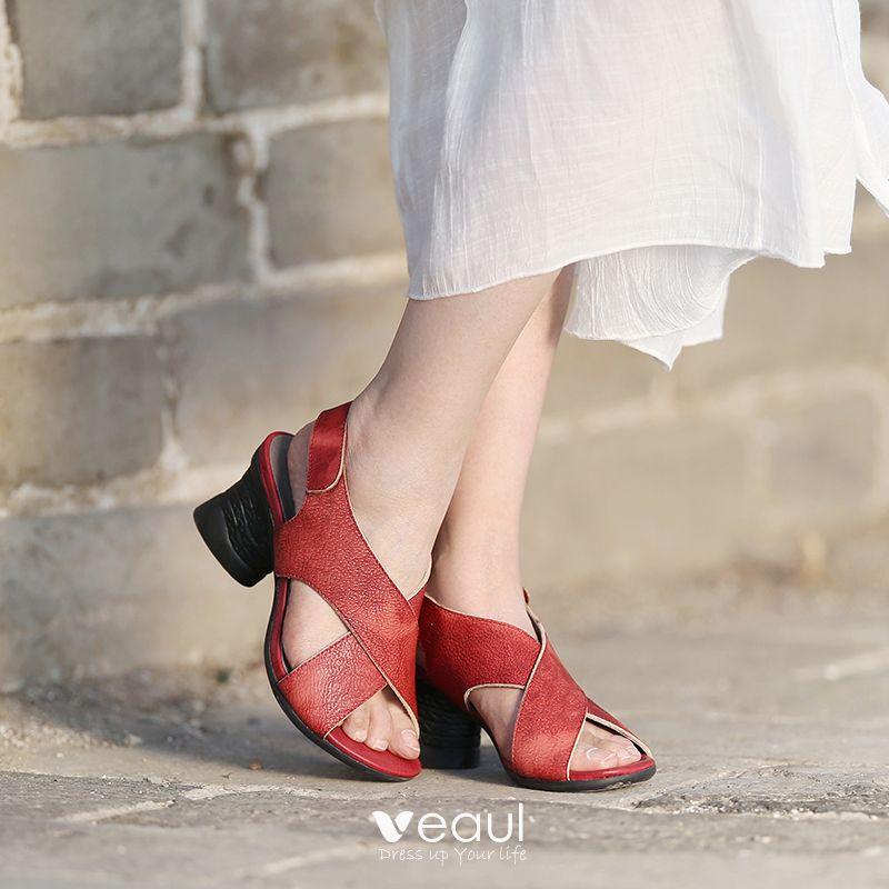 Chic / Beautiful 2017 6 cm Ink Blue Red Beach Casual Outdoor / Garden Leather Summer Pierced High Heels Thick Heels Sandals Open / Peep Toe Womens Sandals