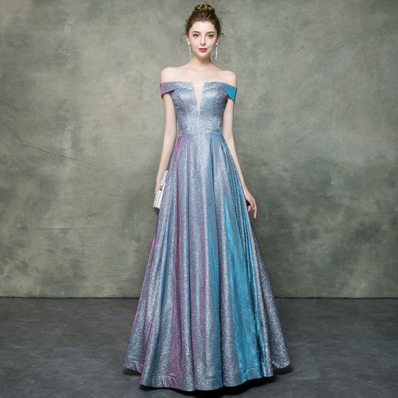 Starry Sky Multi-Colors Evening Dresses  2019 A-Line / Princess Off-The-Shoulder Sleeveless Glitter Polyester Floor-Length / Long Ruffle Backless Formal Dresses