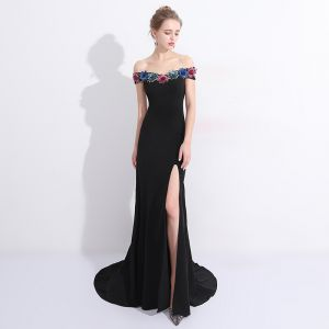 Sexy Black Evening Dresses  2017 Trumpet / Mermaid Lace Flower Sequins Off-The-Shoulder Short Sleeve Backless Sweep Train Formal Dresses