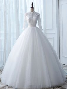 Robe De Mariée Vintage 2017 Col Haut Appliques Boutons Blanc Glitter Tulle Robes De Mariée