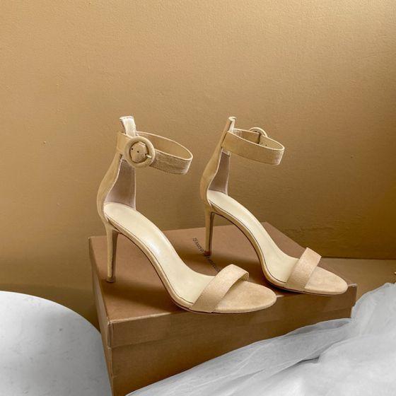 Schlicht Nude Freizeit Sandalen Damen 2020 Leder Knöchelriemen 10 cm Stilettos Peeptoes Sandaletten