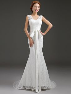 Mermaid V-neck Beading Bow Sash Backless Lace Wedding Dress