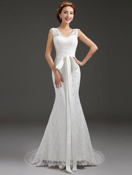 Mermaid V-neck Beading Bow Sash Backless Lace Wedding Dress