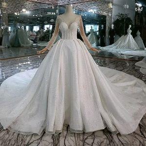 High End Auffälliges Weiß Ballkleid Brautkleider / Hochzeitskleider 2020 U-Ausschnitt Lange Ärmel Handgefertigt Perlenstickerei Rückenfreies Kristall Pailletten Kathedrale Schleppe Hochzeit