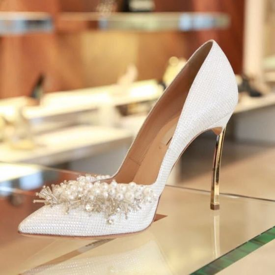 Modern / Fashion Gold Wedding Shoes 2018 Sequined Polyester Pearl Rhinestone 12 cm Stiletto Heels Pointed Toe Wedding Pumps