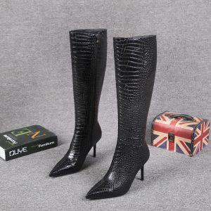 Mote Svart Vinter Gateklær Alligator Print Midten Kalv Kvinners støvler 2021 Lær 8 cm Stiletthæler Spisse Boots