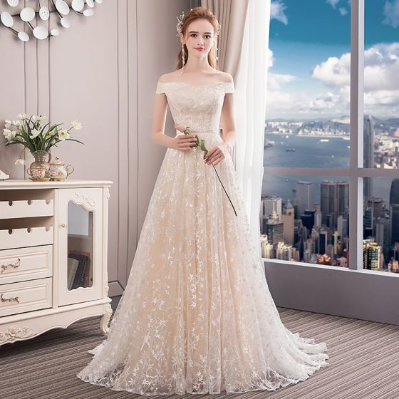 Modern / Fashion Champagne Wedding Dresses 2018 A-Line / Princess Star Off-The-Shoulder Backless Sleeveless Sweep Train Wedding