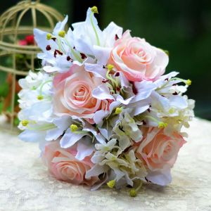Artificial Silk Simulation Flower Bridal Bouquet Holding Flowers Lily Rose Hydrangea Wedding Flowers