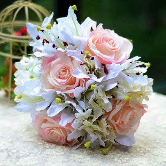 Artificial Silk Simulation Flower Bridal Bouquet Holding Flowers Lily Rose Hydrangea Wedding Flowers