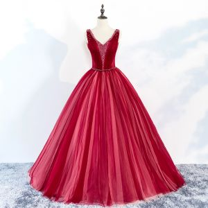 Chic / Beautiful Red Prom Dresses 2018 Ball Gown Beading V-Neck Backless Sleeveless Floor-Length / Long Formal Dresses