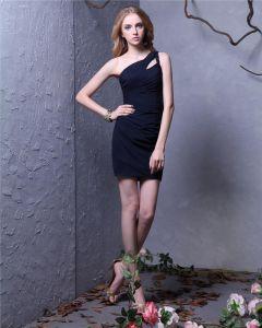 Rozwiewa Jedno Ramie Długie Uda Szyfon Tanie Sukienki Koktajlowe Sukienki Wizytowe