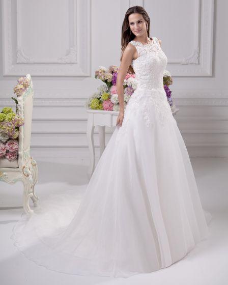 Elegante Juvelen Gulv Lengde Blonder Sateng Kvinner En Linje Brudekjoler Bryllupskjoler