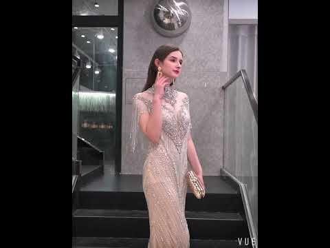 Luxury / Gorgeous Gold See-through Evening Dresses  2019 Trumpet / Mermaid High Neck Sleeveless Handmade  Beading Tassel Sweep Train Formal Dresses