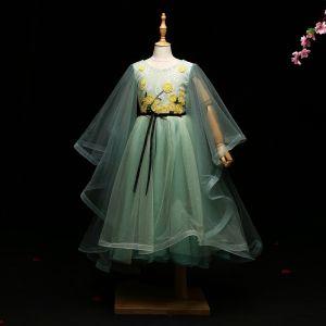 Chic / Belle Vert Cendré Robe Ceremonie Fille 2017 Princesse Appliques Noeud Encolure Dégagée Dos Nu Manches Longues Longueur Cheville Robe Pour Mariage