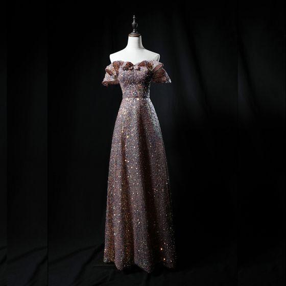 Sparkly Champagne Sequins Dancing Prom Dresses 2021 A-Line / Princess Off-The-Shoulder Short Sleeve Floor-Length / Long Backless Formal Dresses