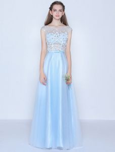 Beautiful Blue Evening Dress Sleeveless Lace Long Formal Dress
