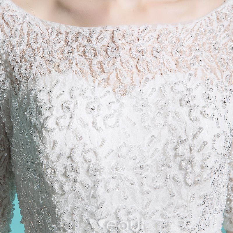 Cheap Wedding Dresses 2016 Elegant Square Neck Beading Sequins 1/2 Sleeves White Ruffle Tulle Ball Gown With Sash