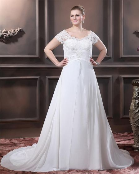 0116ecae47a A-Line V Neck Short Sleeve Sweep Satin Organza Lace Plus Size Wedding Dress