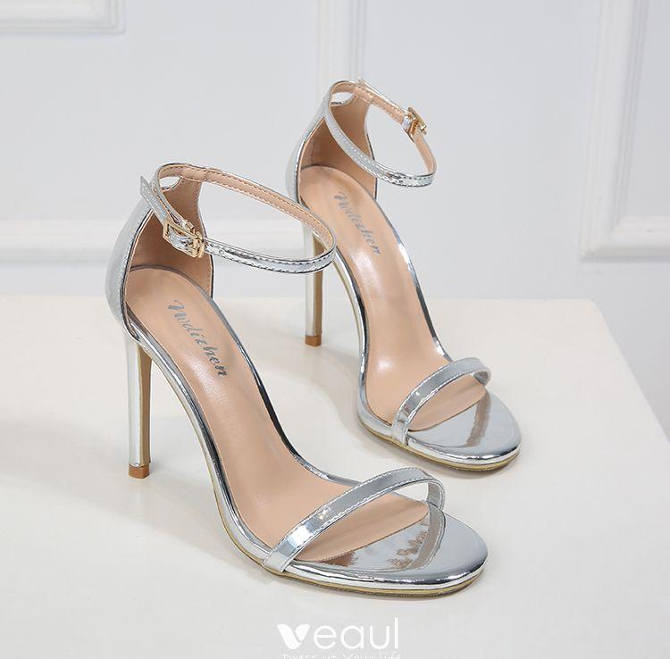 Mode Silber Freizeit Sandalen Damen 2019 Leder Knöchelriemen 10 cm Stilettos Peeptoes Sandaletten