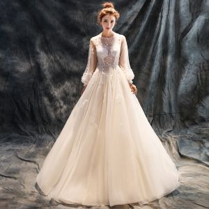 Chic / Beautiful Hall Wedding Dresses 2017 Lace Sequins Appliques Flower Backless Scoop Neck Long Sleeve Cathedral Train Champagne A-Line / Princess