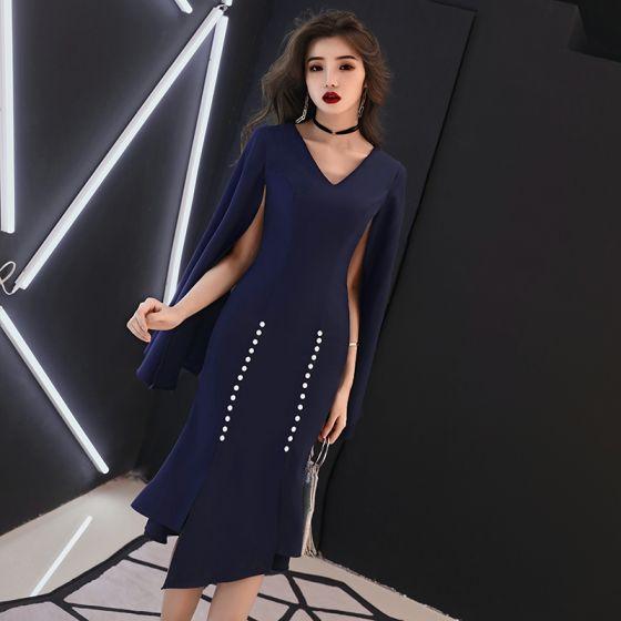 mejores marcas diseñador nuevo y usado más popular Sencillos Marino Oscuro Vestidos de noche 2019 V-Cuello Manga Larga Delante  De Split Asimétrico Ruffle Vestidos Formales