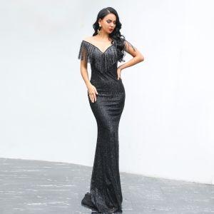 Affordable Black Evening Dresses  2020 Trumpet / Mermaid See-through Scoop Neck Short Sleeve Tassel Glitter Polyester Floor-Length / Long Backless Formal Dresses