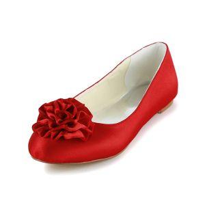 Romantische Ronde Neus Handgemaakte Rode Roos Satijn Platte Bruidsschoenen Trouwsschoenen