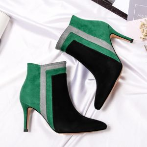 Modest / Simple Green Black Casual Suede Womens Boots 2020 8 cm Stiletto Heels Pointed Toe Boots