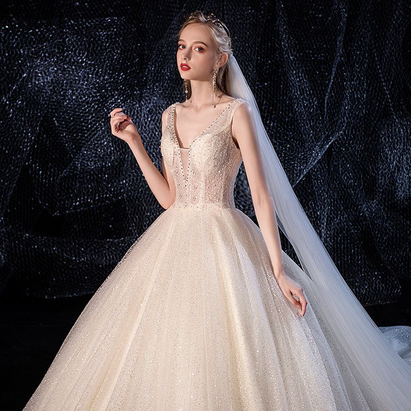 Chic / Beautiful Ivory Wedding Dresses 2020 A-Line / Princess Deep V-Neck Sleeveless Backless Glitter Tulle Beading Cathedral Train Ruffle