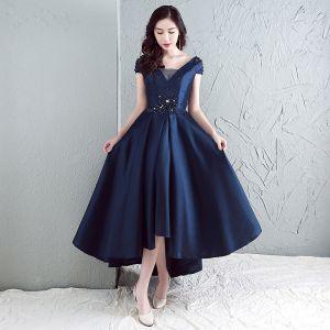 Chic / Beautiful Evening Dresses  2017 Navy Blue A-Line / Princess Asymmetrical V-Neck Sleeveless Backless Appliques Flower Pearl Rhinestone Formal Dresses
