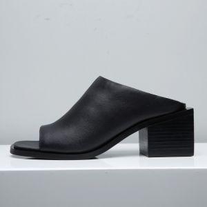Enkel Sorte Sandaler Dame 2017 Mid Hæl Tykke Hæle Peep Toe Sandaler