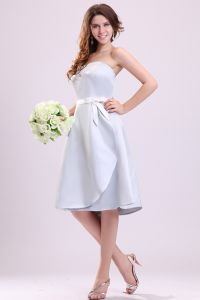 2015 Baby Blue A-line Short Bridesmaid Dresses With Sash