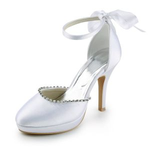 Cheap White Wedding Shoes Satin Stilettos Ankle Strap Sandals With Rhinestone And Bow
