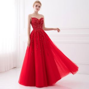 Sparkly Red Prom Dresses 2017 A-Line / Princess Sleeveless Amazing / Unique Sweetheart Backless Beading Sequins Floor-Length / Long Tulle Formal Dresses