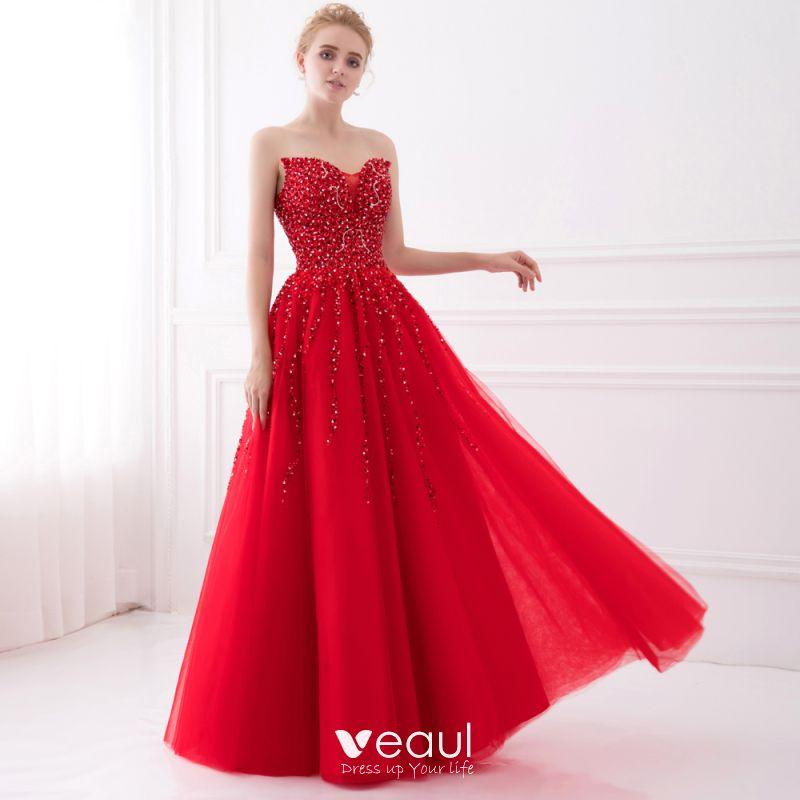 Sparkly Red Prom Dresses 2017 A-Line / Princess